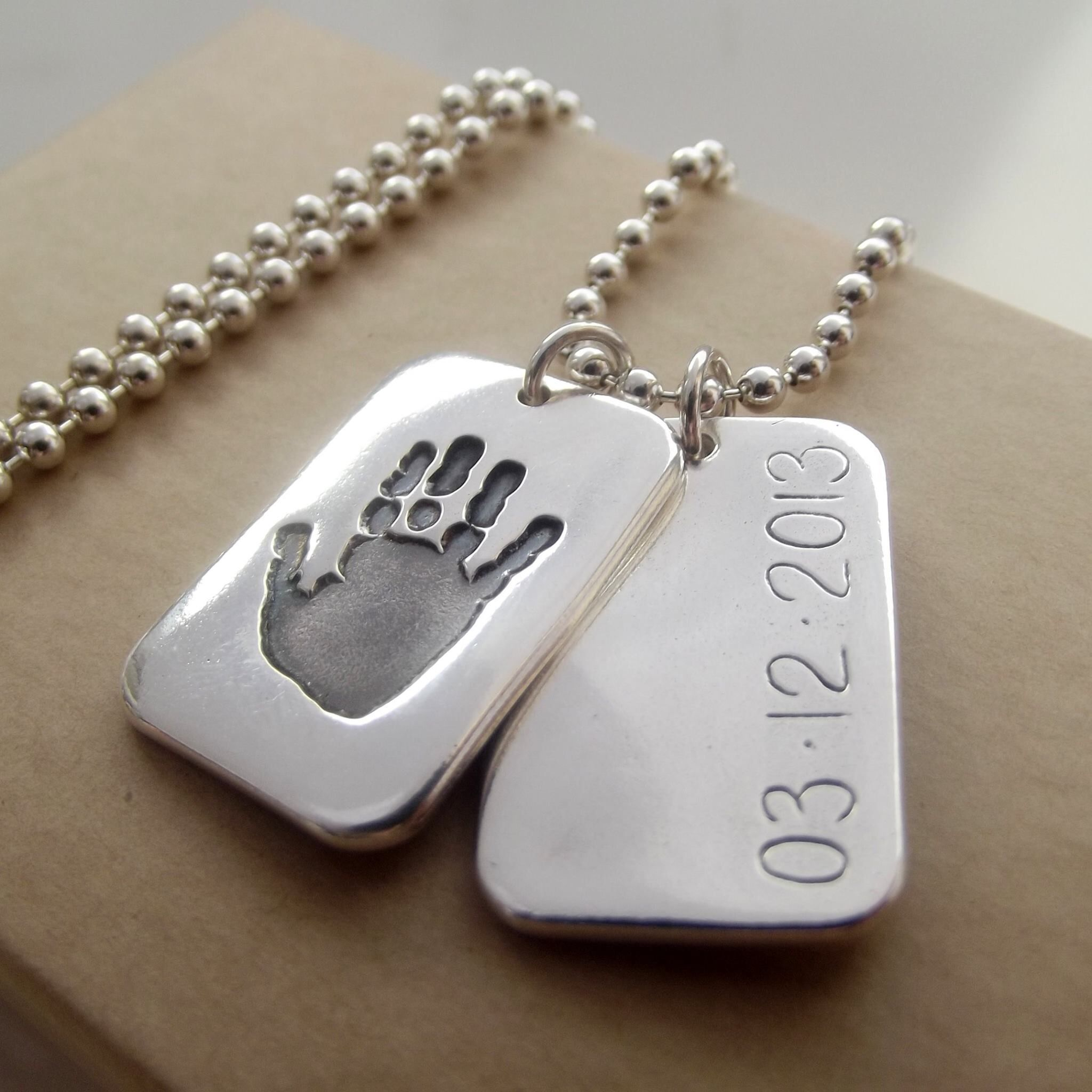 Personalised Dog Tags Handprint Jewellery For Men Fathers