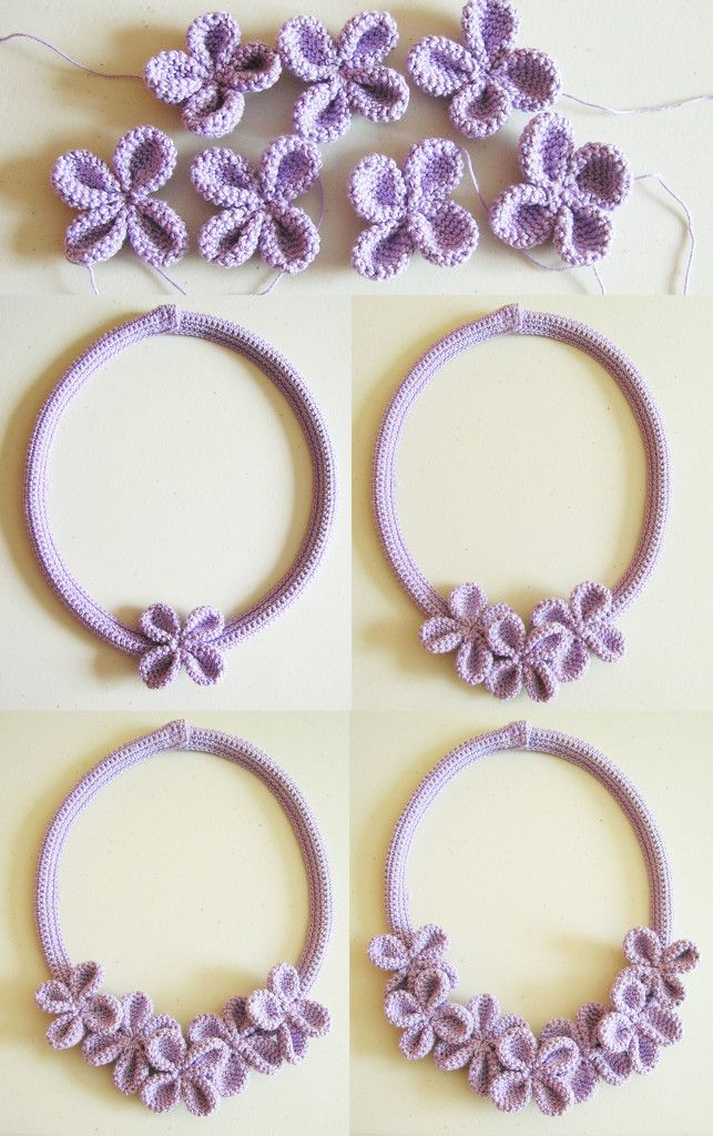 Crochet flower necklace #3/ Collar de flores a ganchillo #3 ...