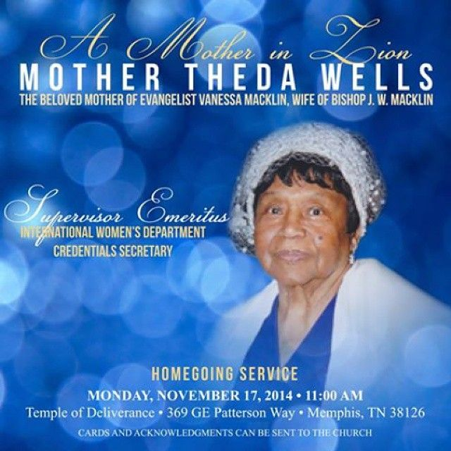Mother Theda Wells Homegoing Service | I Love COGIC Info | Wellness