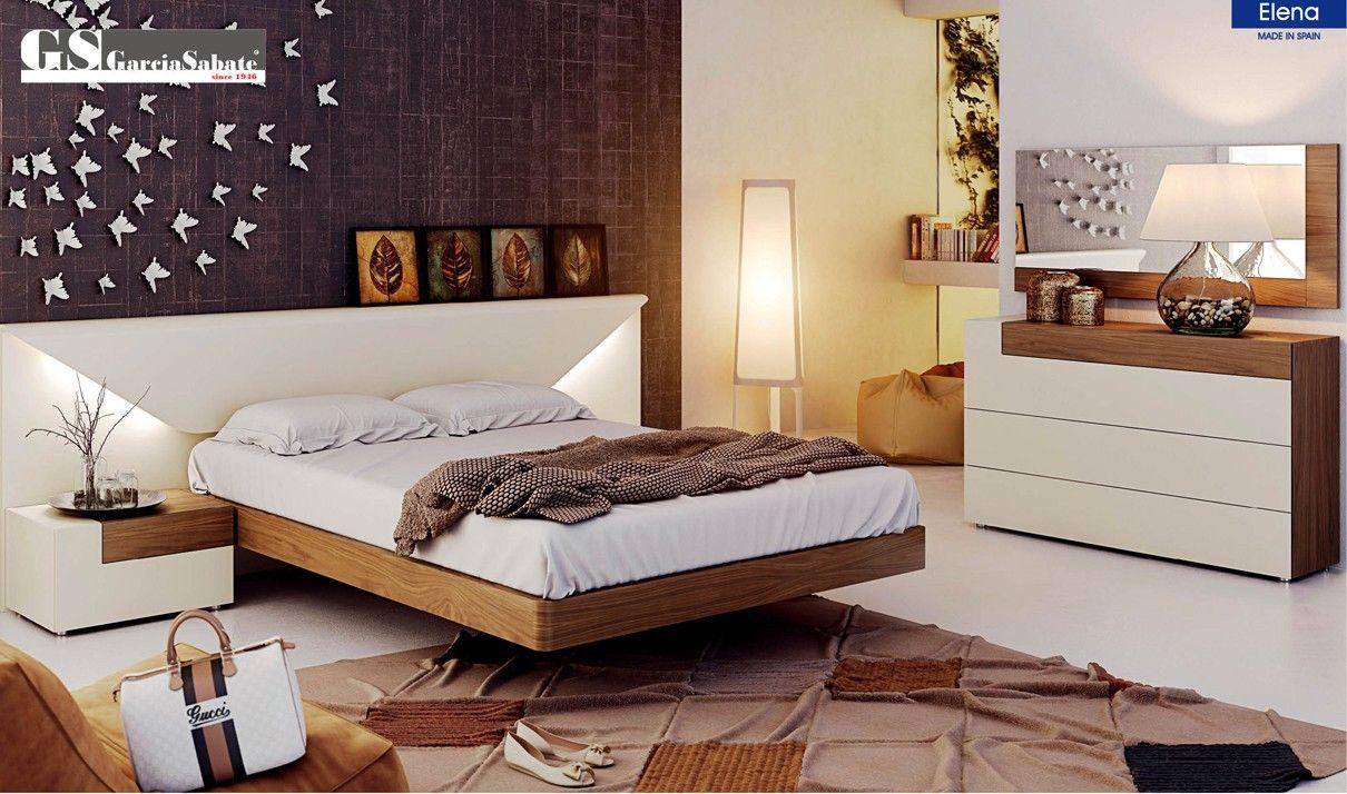 Elena Bedroom Set in White & Walnut Contemporary bedroom