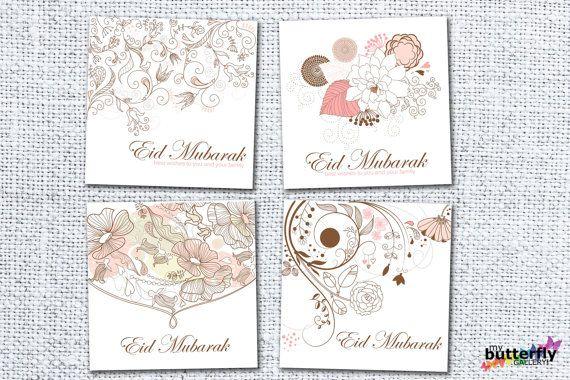 Printable Eid Mubarak Card Set Digital Download Set Of 4 Eid