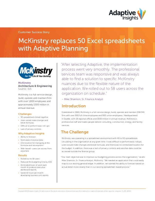 McKinstry case study final by Adaptive Insights via slideshare - roi spreadsheet