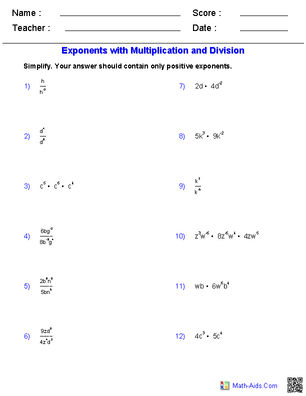 Exponents with Multiplication and Division Worksheets | Math-Aids ...