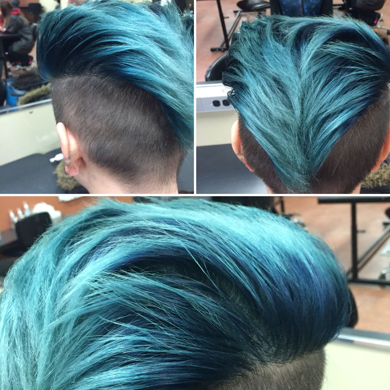 Vibrant blue i did using wella really love the turnout hair