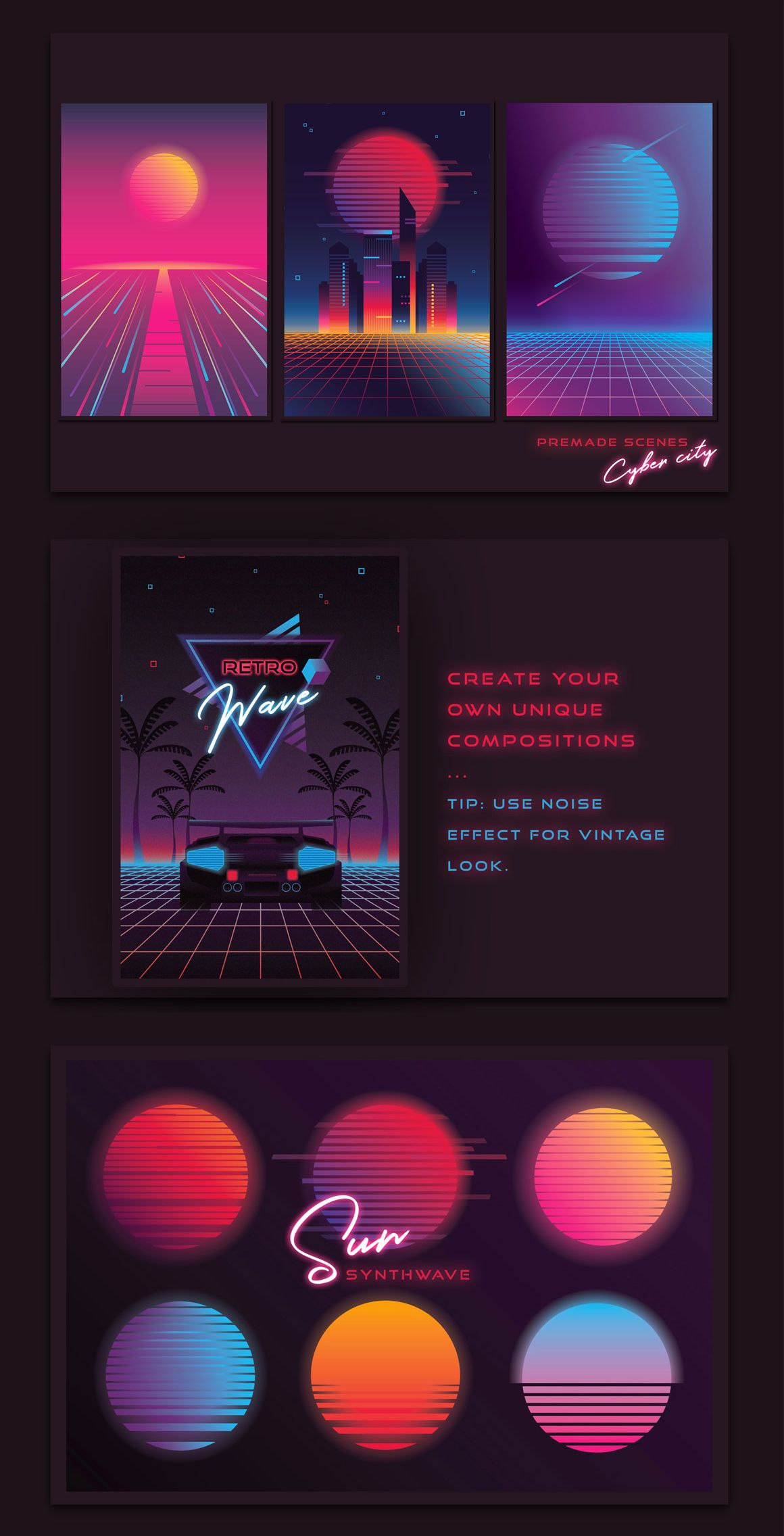 1980s Synthwave Toolkit - Over 80 retro elements - Create your own Synth scenes!