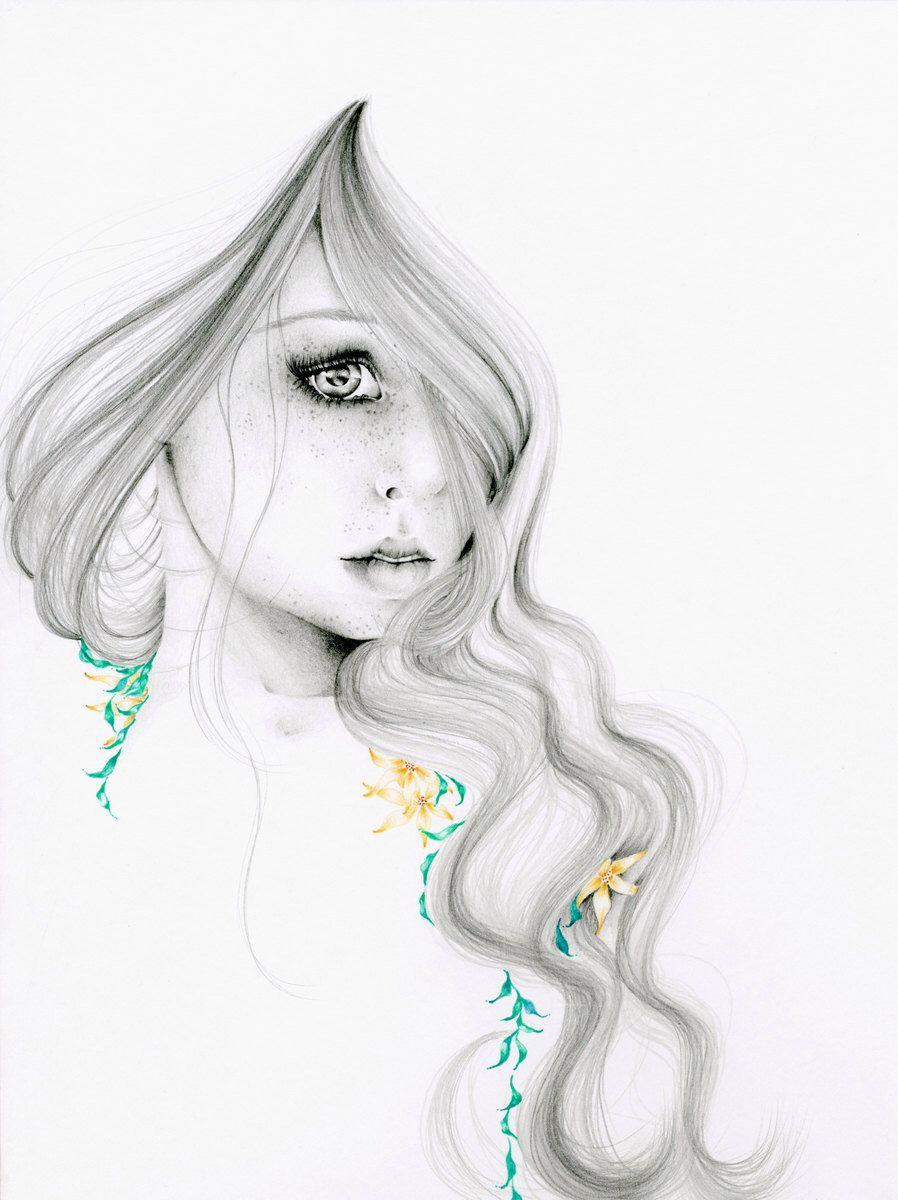 Fashion Illustration Pencil Drawing Giclee Print Of My