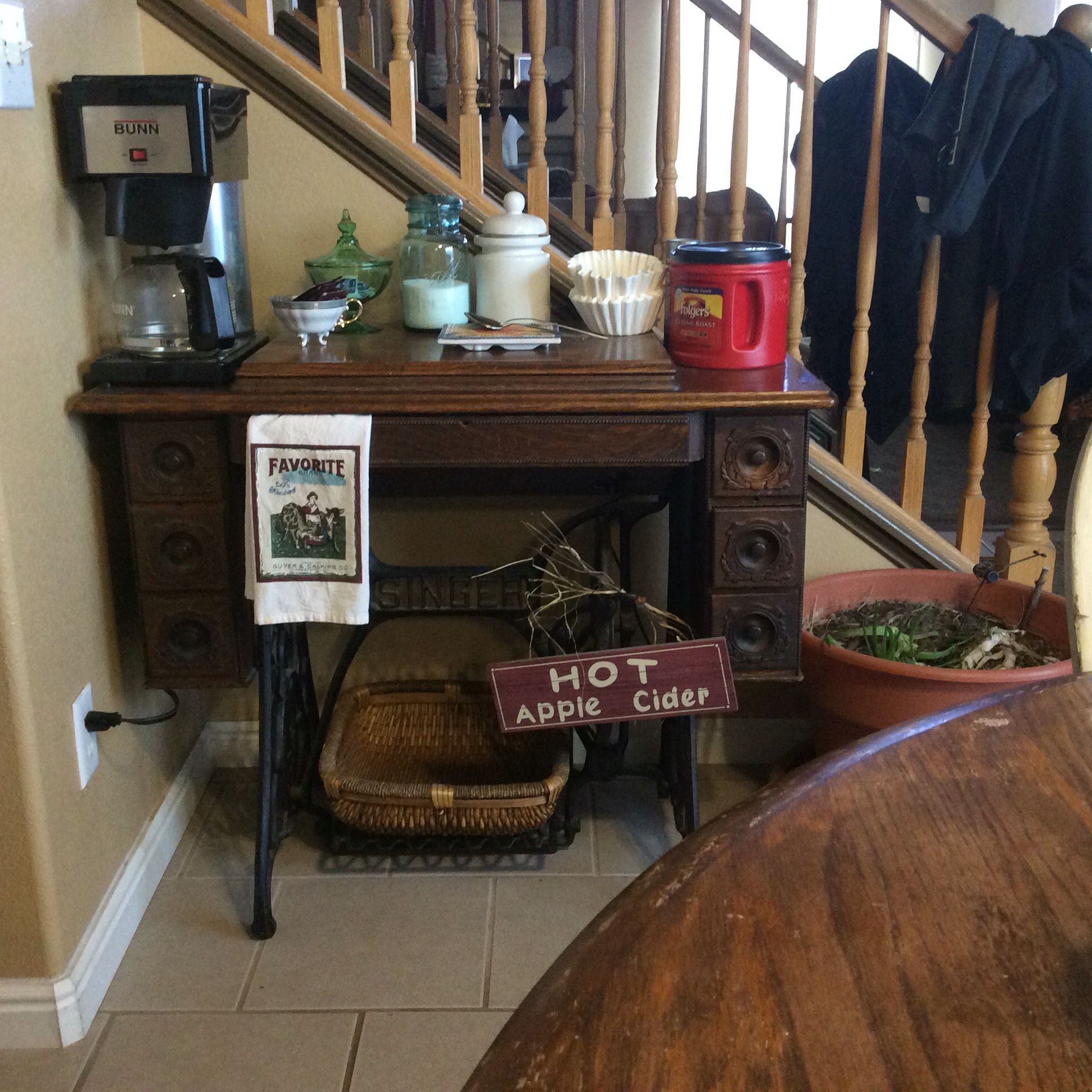 Momma's old Singer is my new/old Coffee Bar Entryway