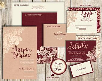 Champagne and Burgundy Wedding Invitations Maroon Wedding