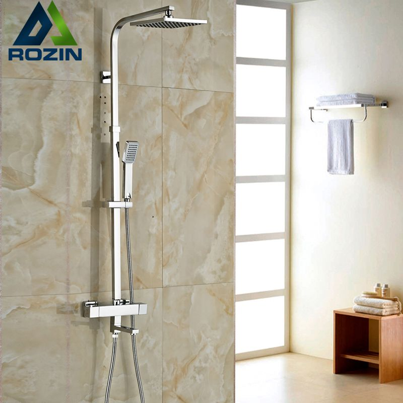 Brand New Chrome Thermostatic Water Shower Faucet Set Bath Tub ...