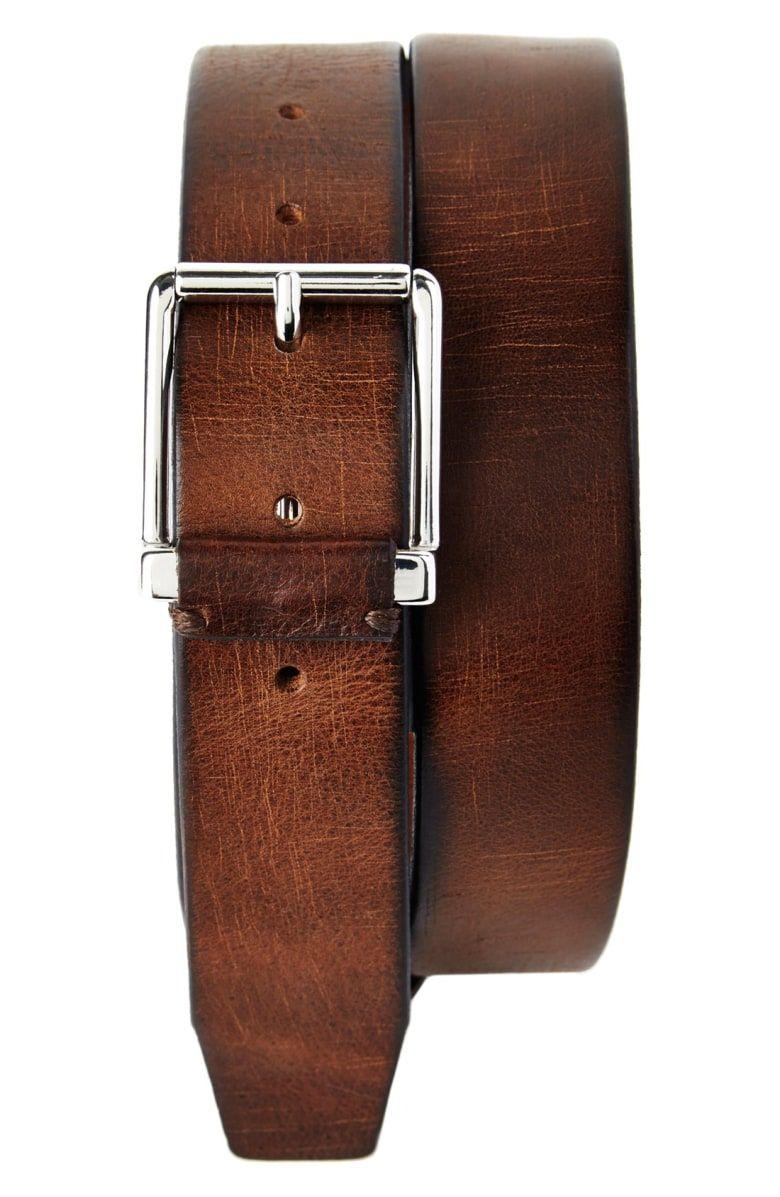 Banana Republic Tumbled Italian Leather Chino Belt Color Cognac
