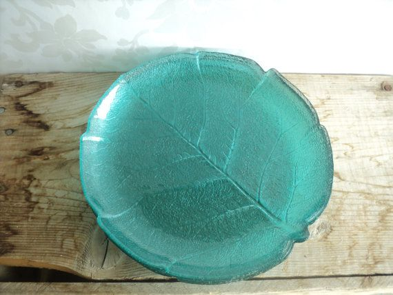 Turquoise Dinner Plates set of 5 Arcoroc Blue Aspen Pattern Leaf Styled Glass France & Turquoise Dinner Plates set of 5 Arcoroc Blue by littlecleoathome ...