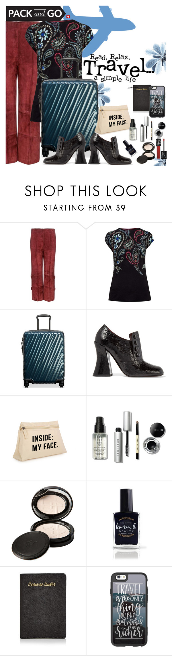 """Pack and Go:  Winter Getaway"" by juliehooper ❤ liked on Polyvore featuring Edun, Ted Baker, Tumi, Marc Jacobs, Bobbi Brown Cosmetics, Beauty Is Life, Lauren B. Beauty, Rebecca Minkoff, Casetify and NARS Cosmetics"