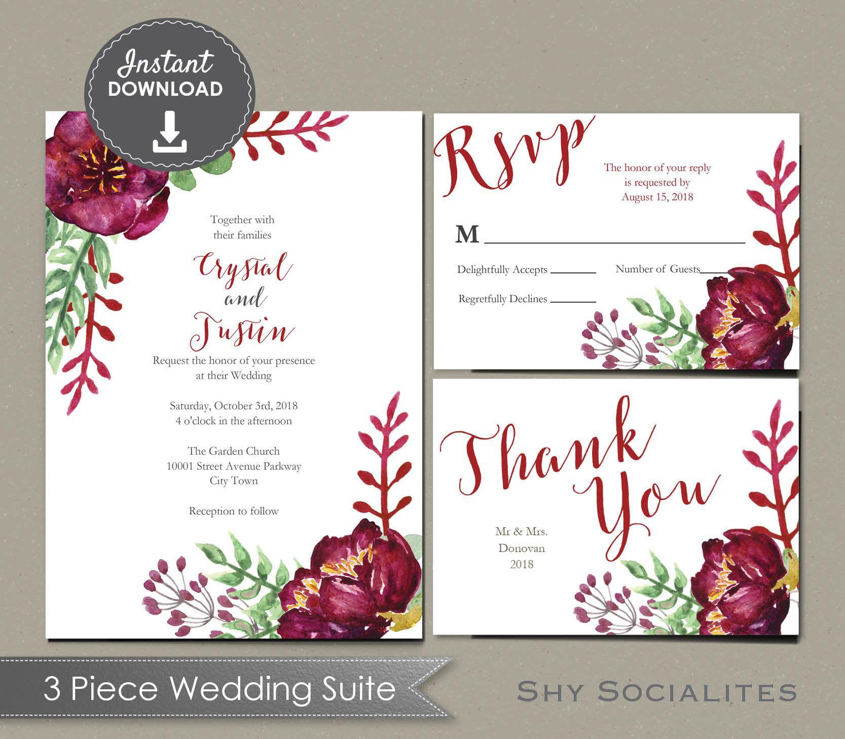 Burgundy Floral Watercolor Wedding Suite Invitation