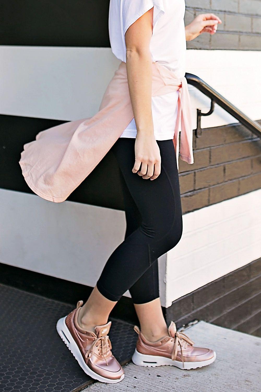 Metallic sneakers, Pink sneakers outfit