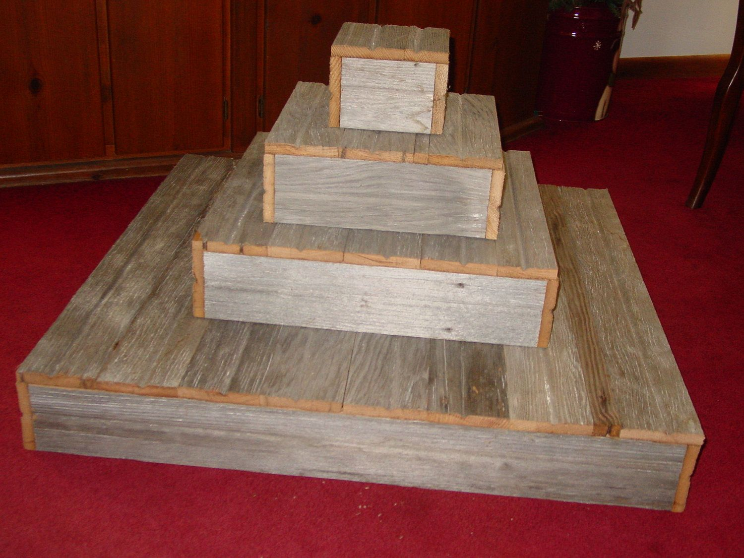 4 tier wood cake stand wedding cupcake box stand plate barn wood primitive reclaimed marriage vintage