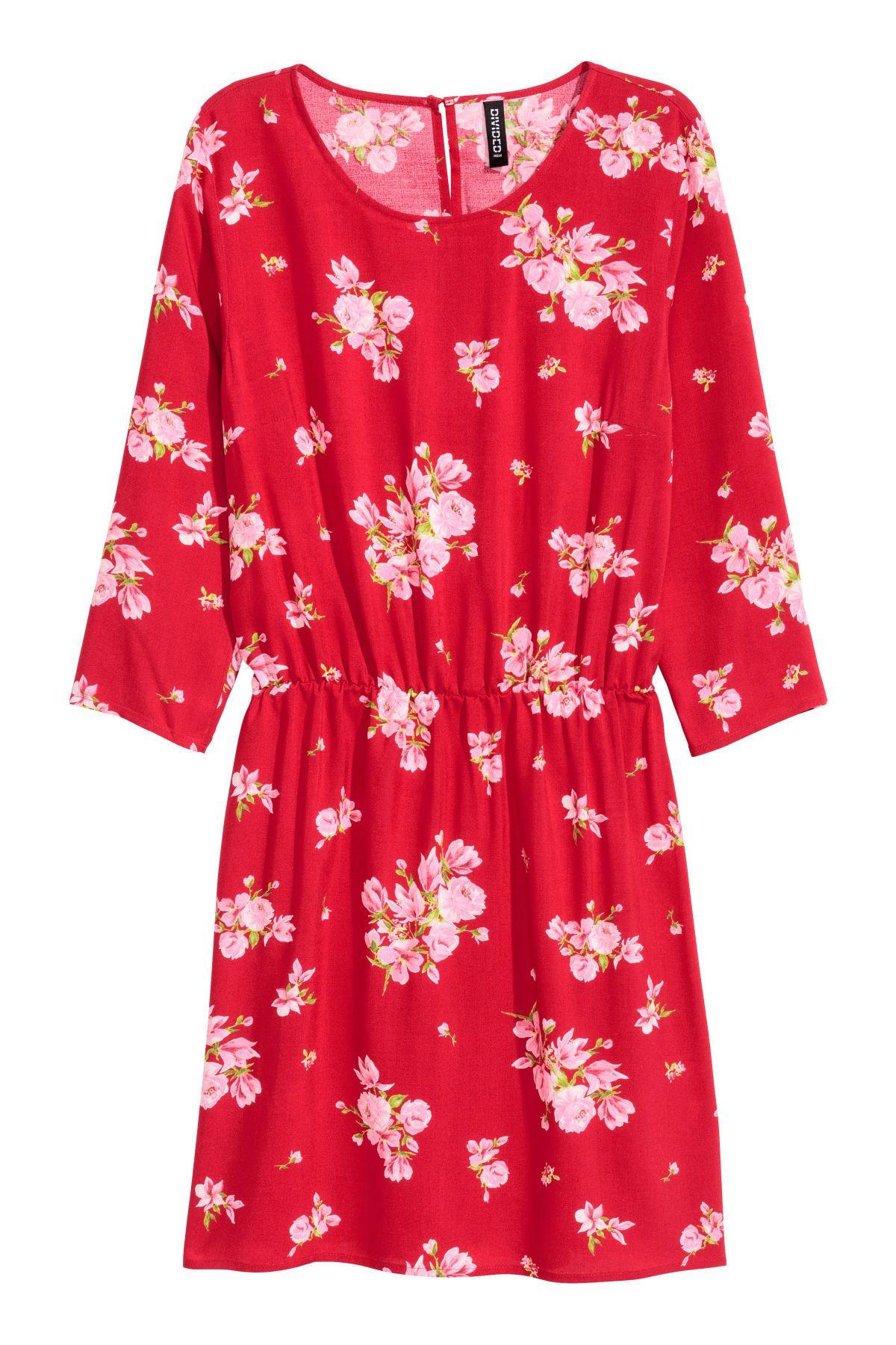 Kurzes Kleid | Rot/Geblümt | SALE | H&M DE | Mode, Kurze ...