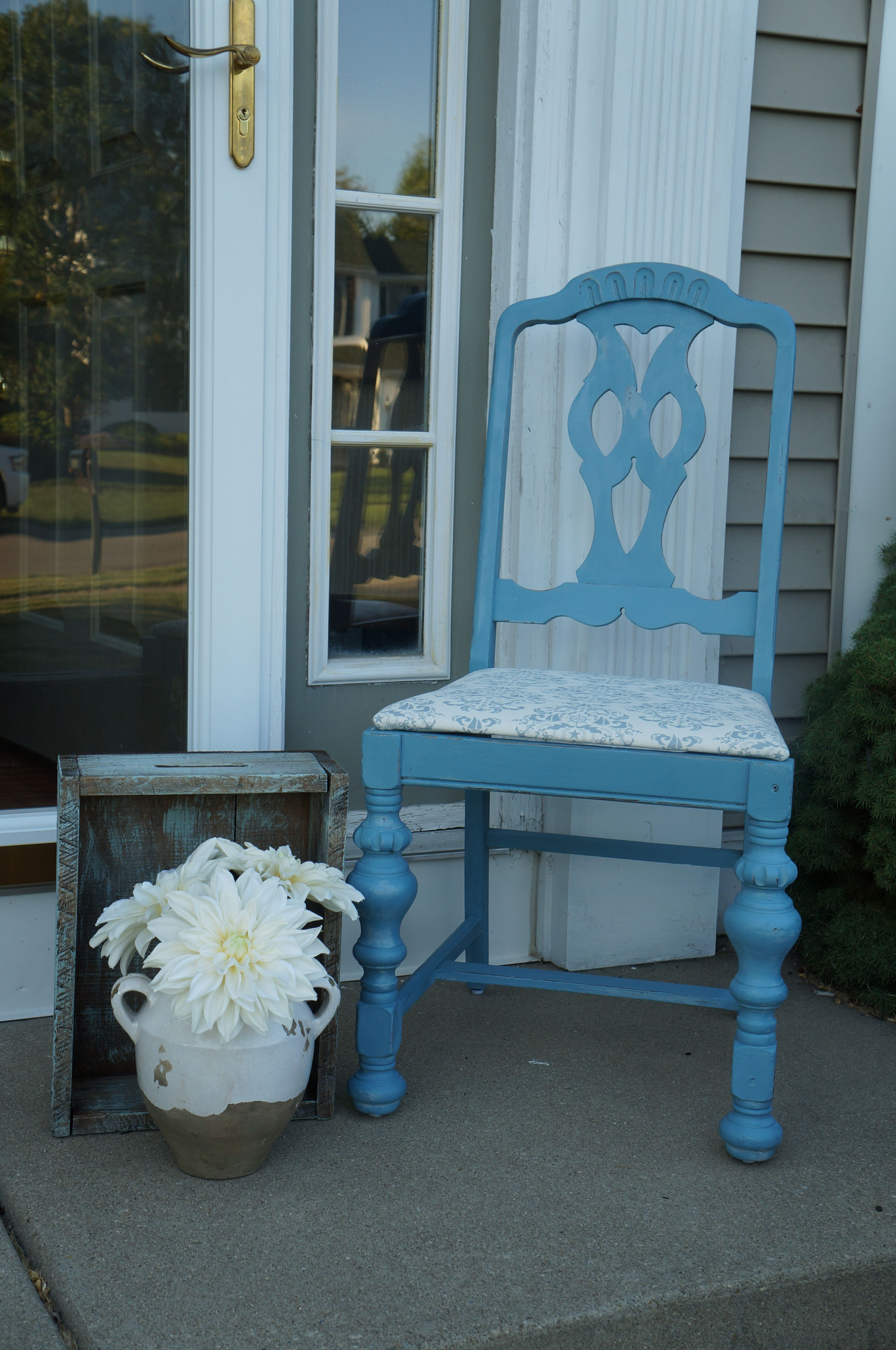 Refurbished Vintage Chair From The 1920u0027s. Beautiful Blue Shabby Chic  Finish With Cute Cloth Chair