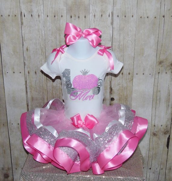 Princess Carriage ribbon trim tutu set outfit Pink by MommaMays