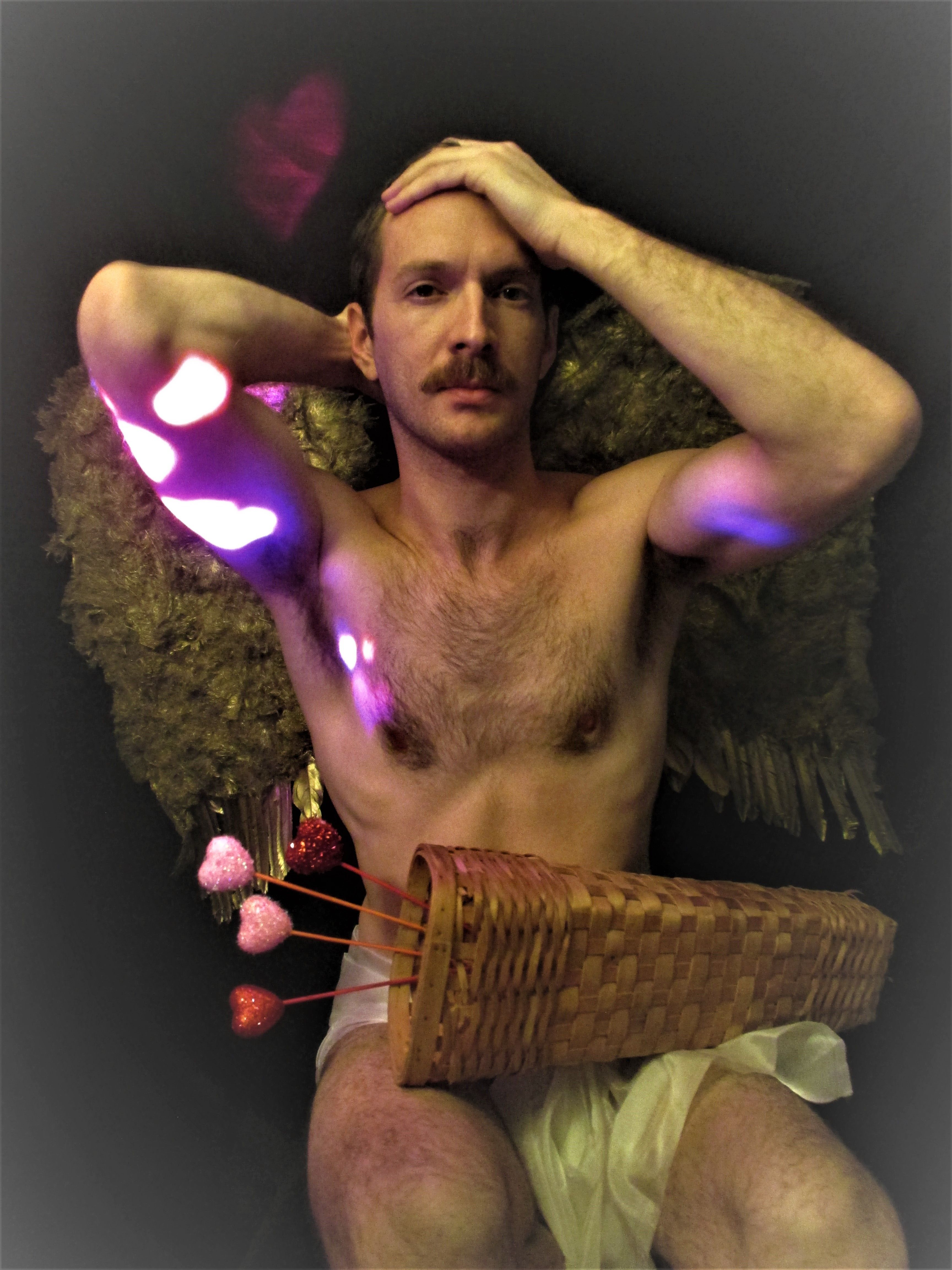 valentines day cupid man male costume muscle hunk nude valentine arrow mustache eros