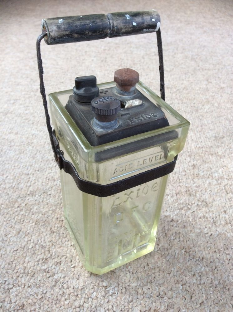 Antique Exide Glass Battery
