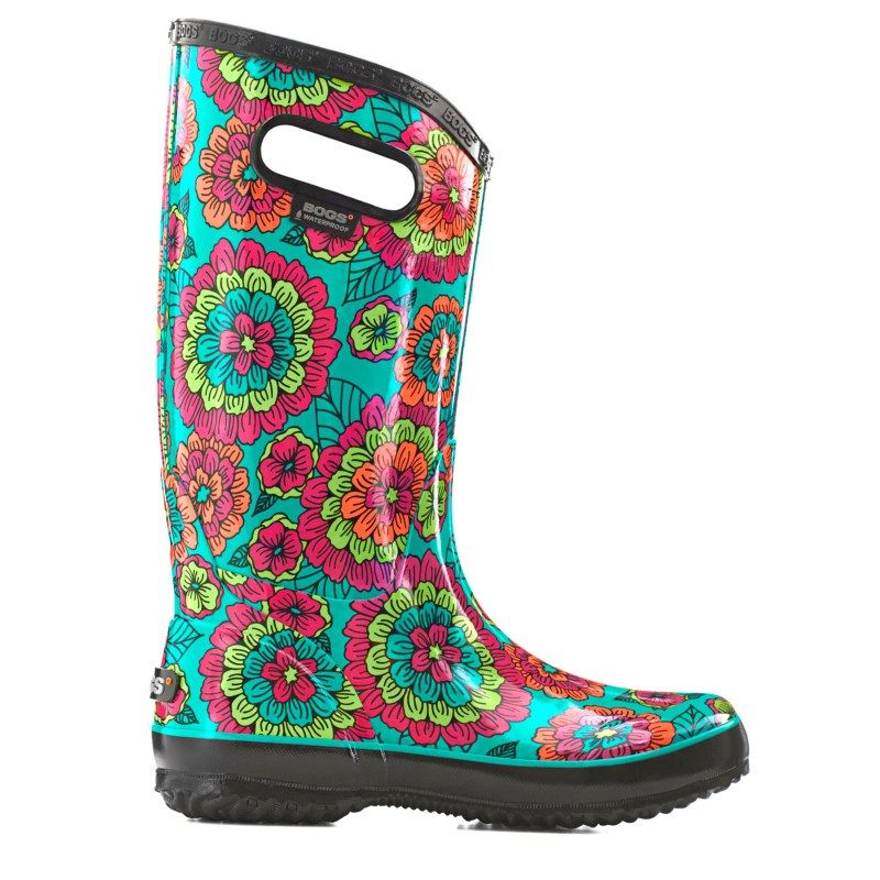 Bogs Women's Pansies Waterproof Rain Boots (Black Multi)