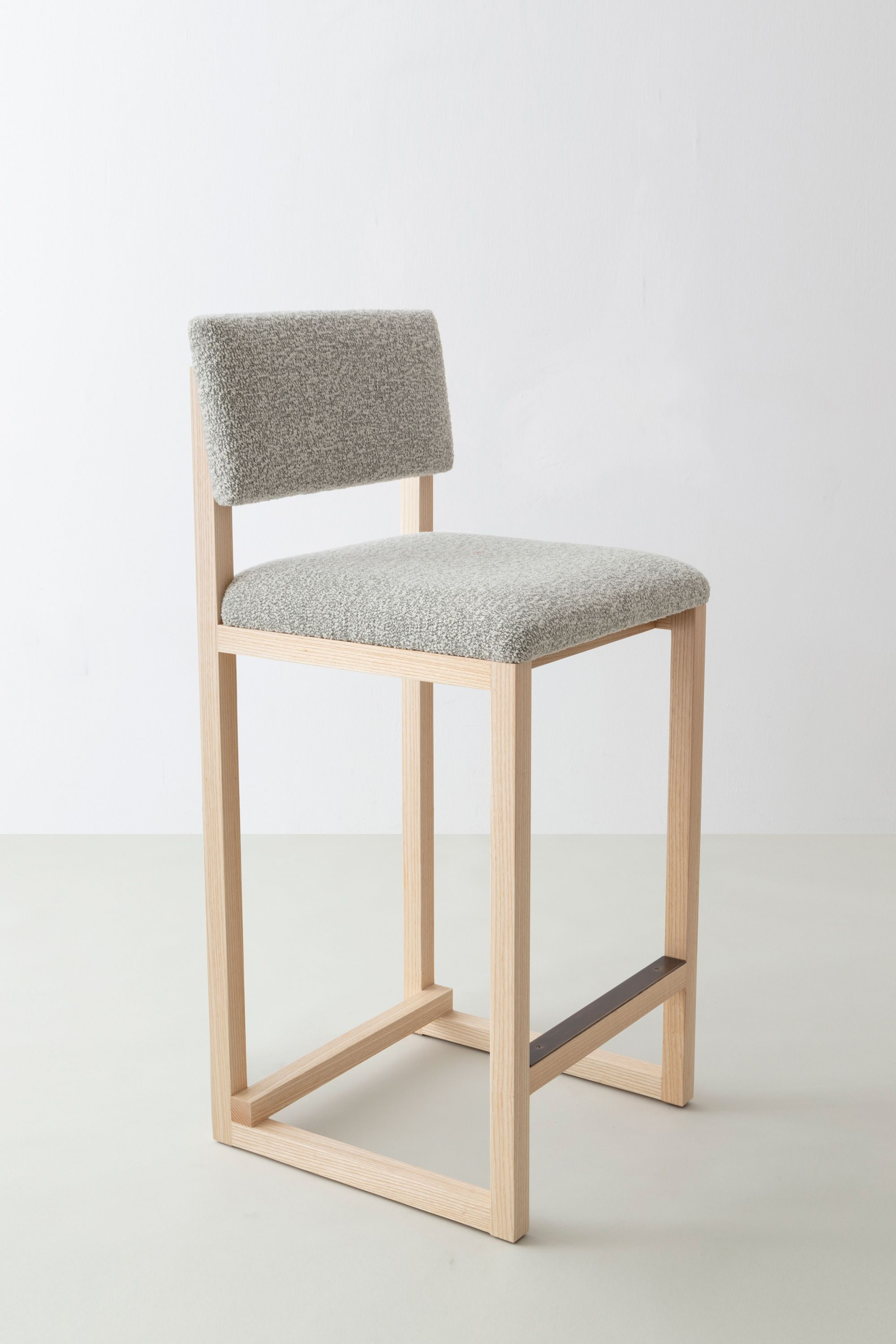 Shown In Solid Ash Speckled Boucle Wool With Hand Finished Antique Brass Kick Plate And Hardware Made To Order I In 2020 Wood Furniture Diy Counter Stools Furniture
