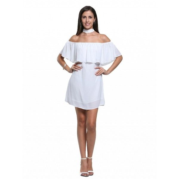 2ec637255f3e Choies White Off Shoulder Ruffle Shift Dress ( 17) ❤ liked on Polyvore  featuring dresses