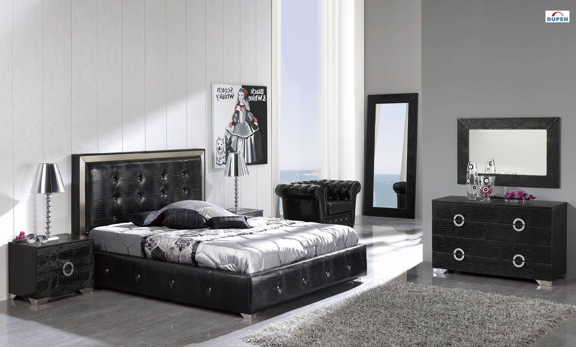 Coco 624 PU Storage Platform Bedroom Set Modern bedroom