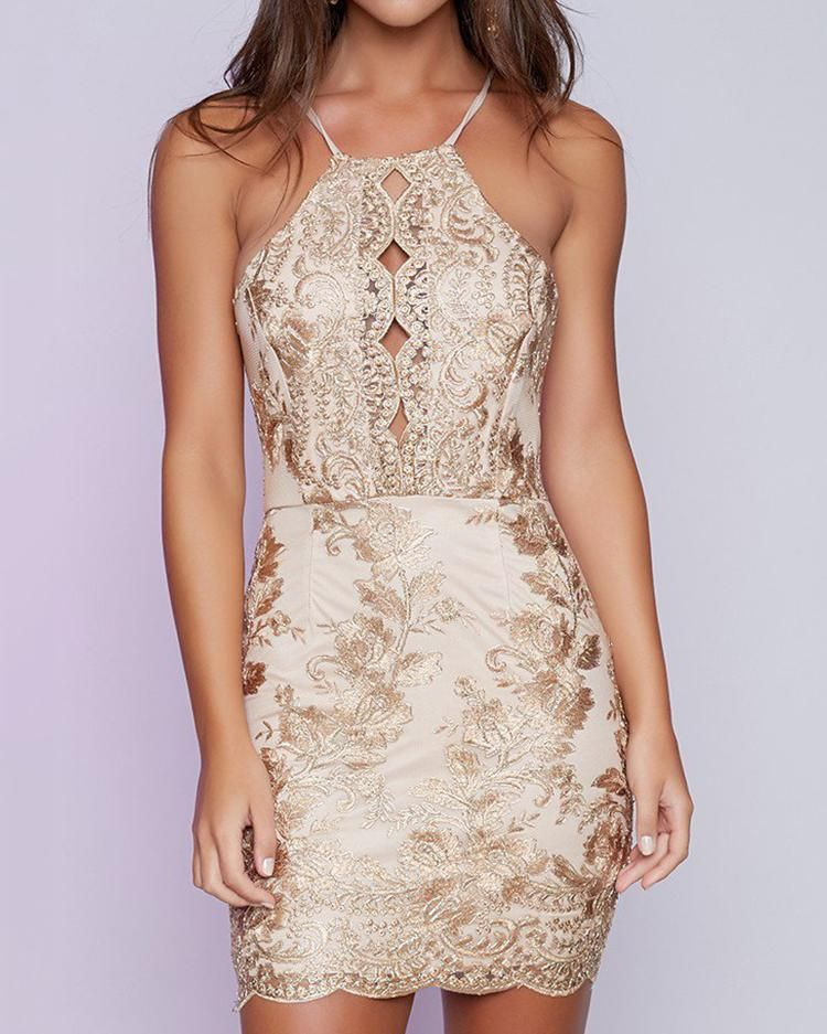 Sexy Spaghetti Strap Embroided Backless Cocktail Bodycon Dress  #backlesscocktaildress