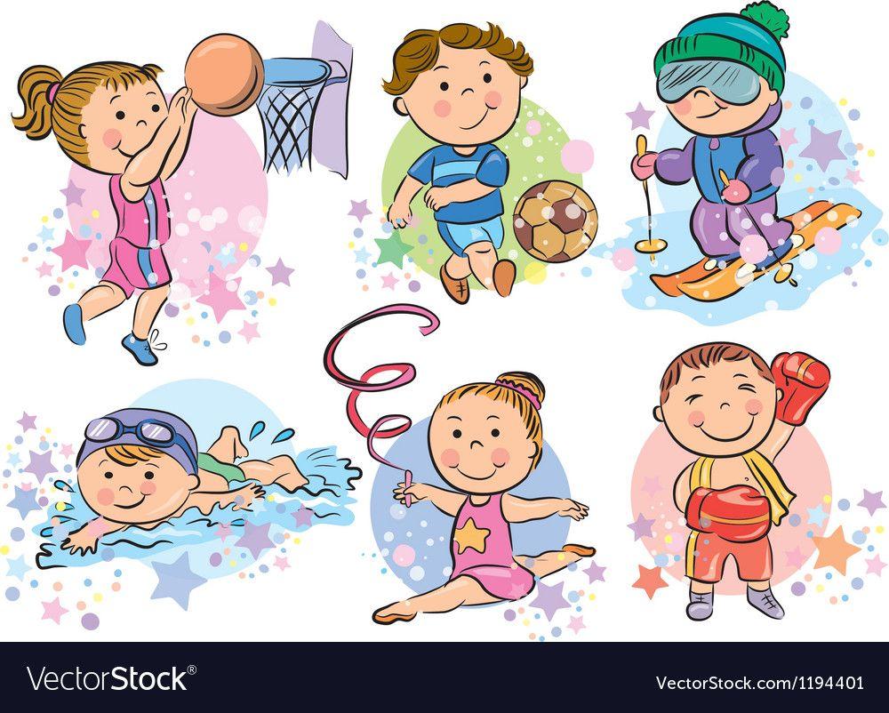 Sports kids Royalty Free Vector Image VectorStock Kids