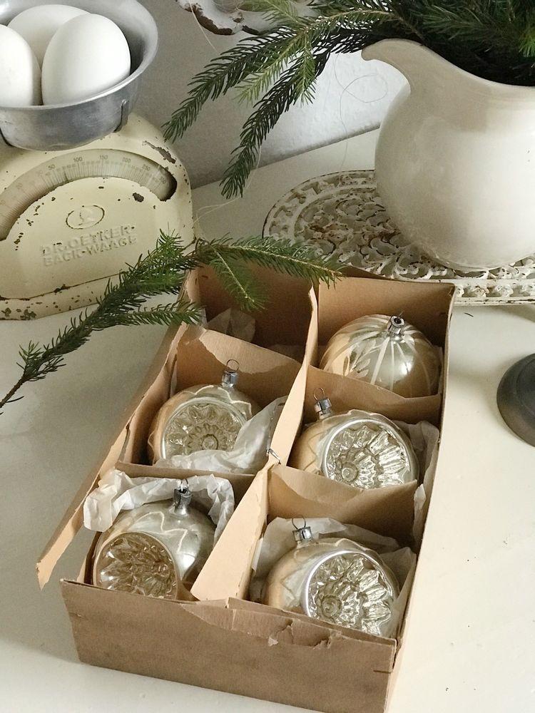 Antik Weihnachtsschmuck Christbaumschmuck Grosse Kugeln 5st Set