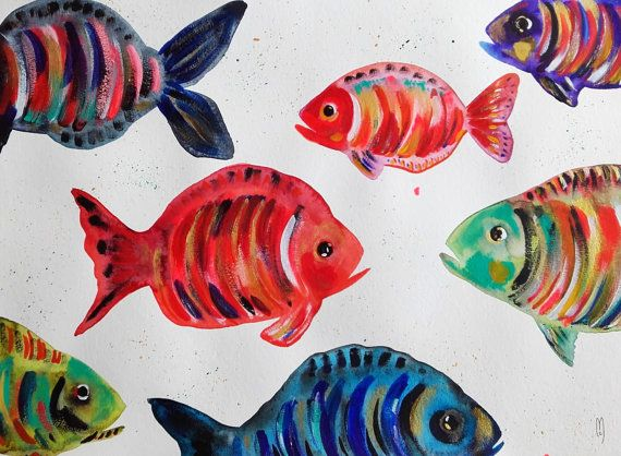 Poissons Aquarelle Peinture Acrylique Mer Animaux Art Nature