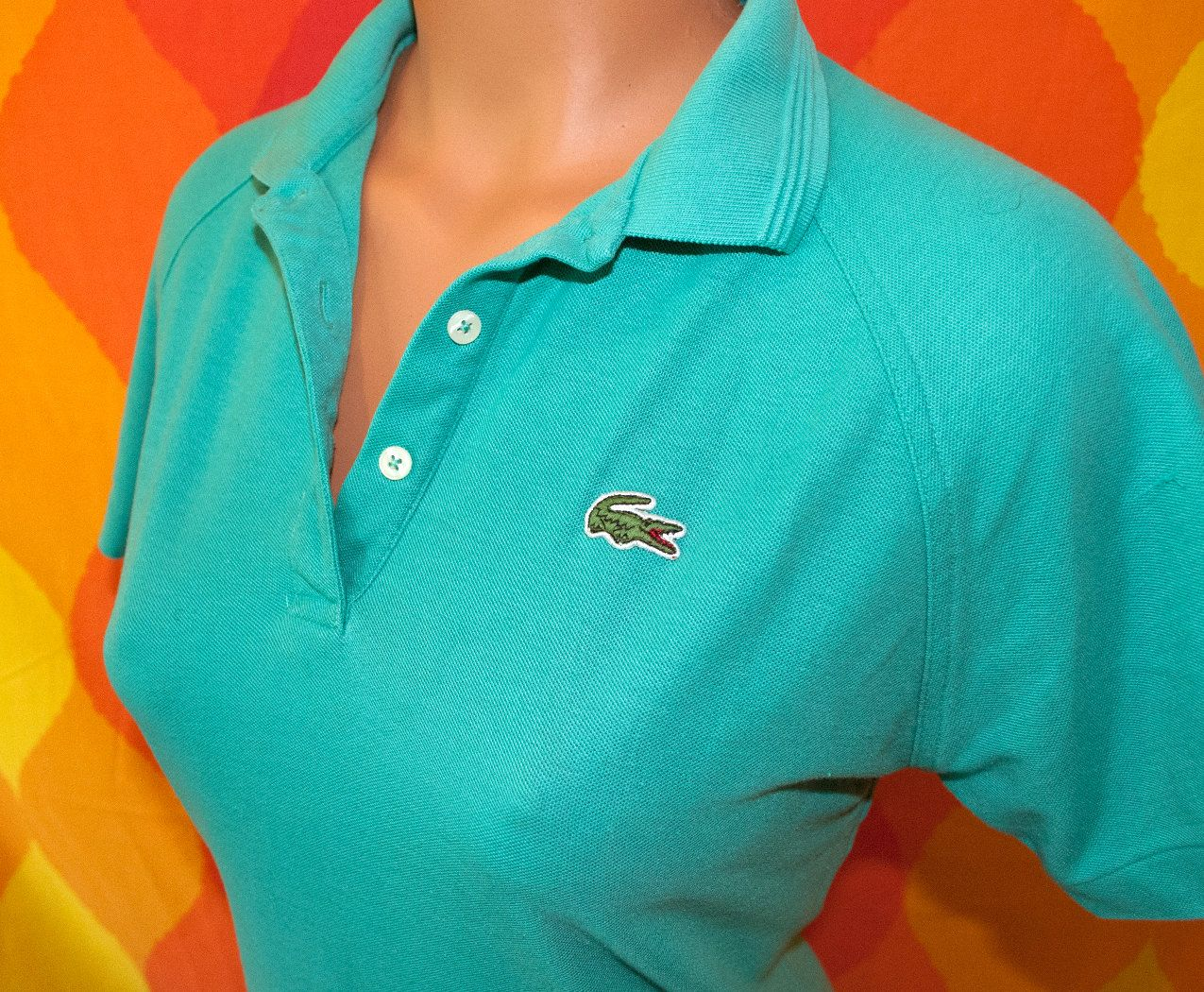 1970s womens Izod Lacoste for her polo shirt t-shirt size large made in Japan black yellow red blue striped alligator shirt ska preppy punk