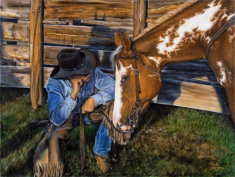 Ranches American West ~ DIY Cross Stitch Pattern Checking the Fences ~ Cowboys