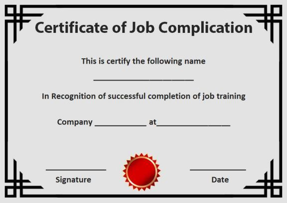 Certificate Of Job Completion Template  Certificate Of Completion