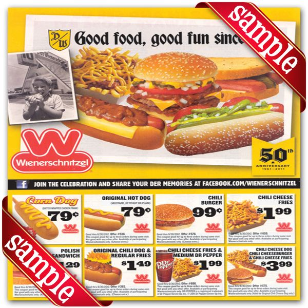 image regarding Printable Wienerschnitzel Coupons titled Wienerschnitzel Discount coupons : December 2016 der Schinitzel