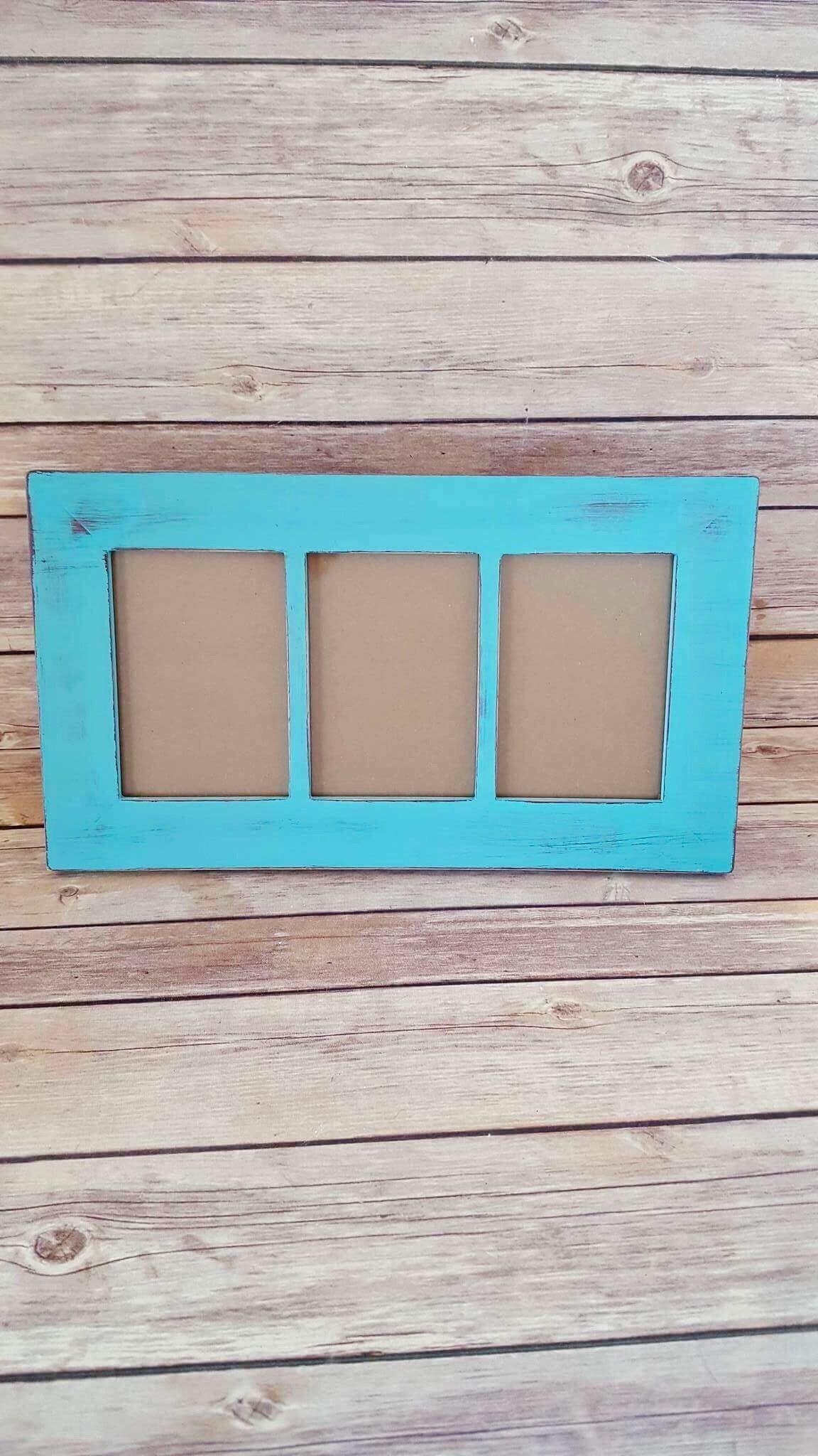 Turquoise Picture Frame - 3 Window Frame - 3 X
