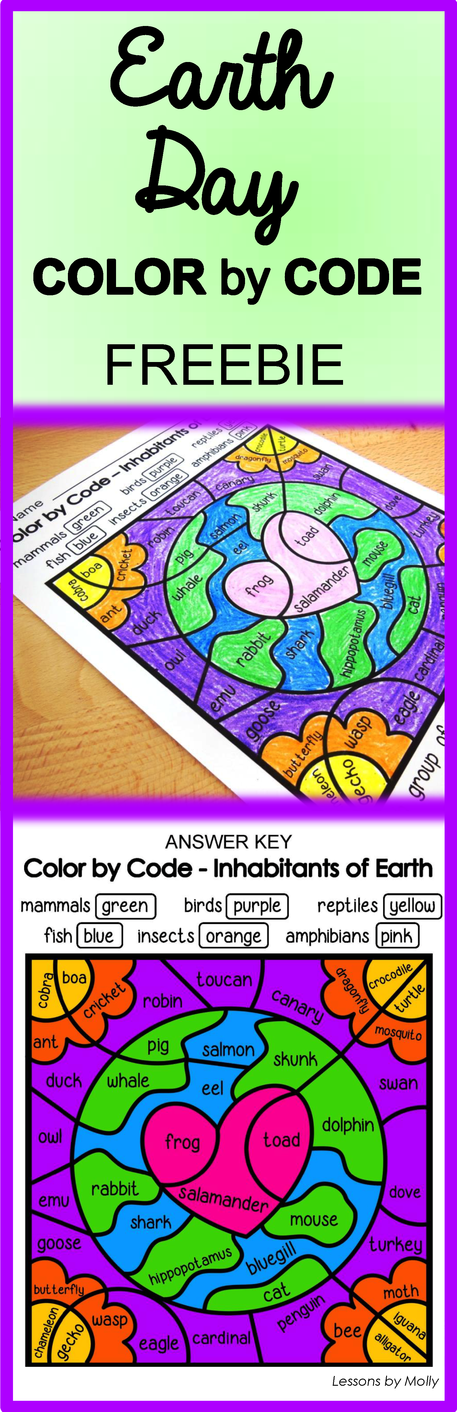 Color By Code Earth Day Freebie Animal Groups