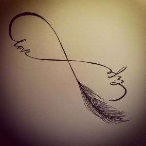 'Life and love infinity symbol' with feather. Line drawing only. No tats for this girl. djk