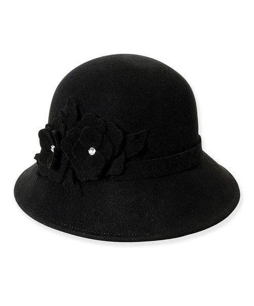 34606409947 Look at this Black Floral Jewel Havant Wool Cloche on  zulily today ...
