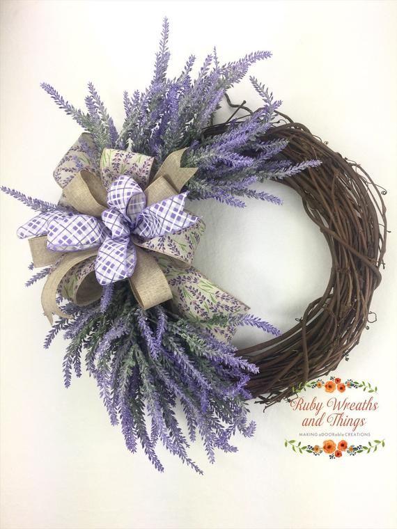 Photo of Lavender farmhouse grapvine wreath