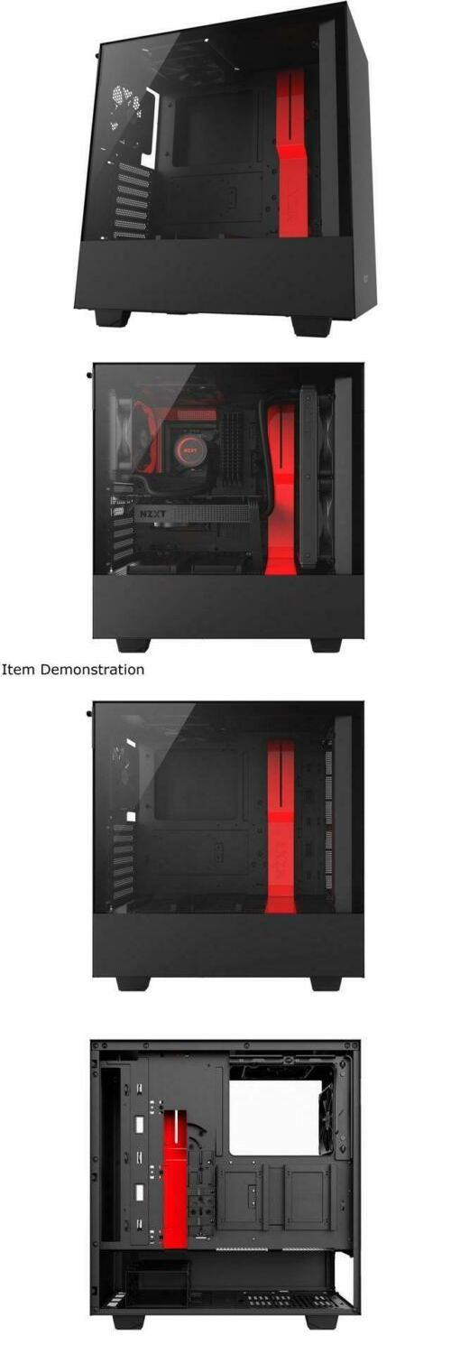 Nzxt H500 (black/black-red/white) : (black/black-red/white), Computer, Cases, Accessories, 175674:, Compact, Mid-Tower, Gaming, Tempered, Glass, Panel, Case,, Tower,, Wellness, Design