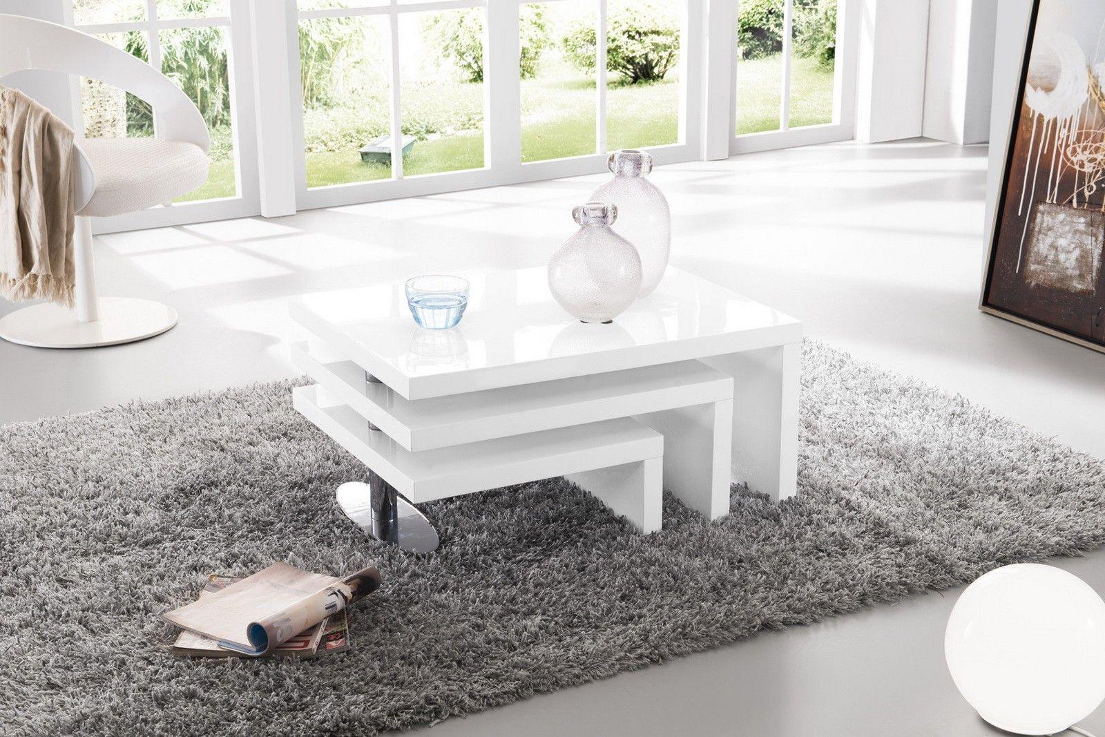 Table Basse A 3 Plateaux Pivotants Blanc Laque Table Basse Design Table Basse Meuble Maison