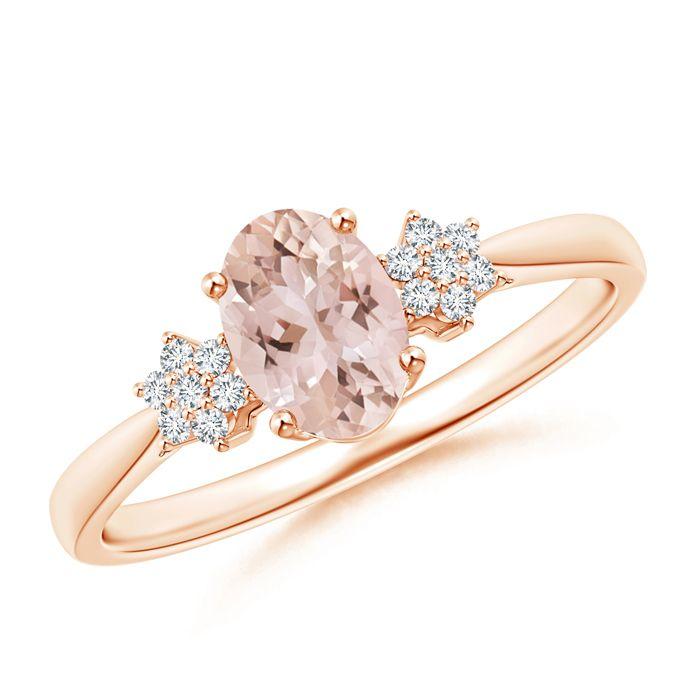 Angara Split Shank Solitaire Oval Morganite Ring with Diamond 6kpAO