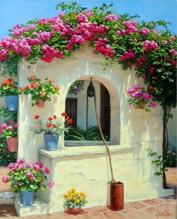 Paisajes Andaluces Con Patios De Flores Paisajes Flores Pinturas De Paisajes Pintura De Jardín
