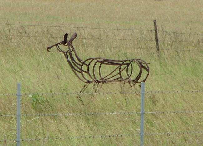 "Steel Sculpture. Frank Jensen. Henry's Sculpture Hill, near Augusta, Kansas.  I love this horse ""running"" free in the meadow."