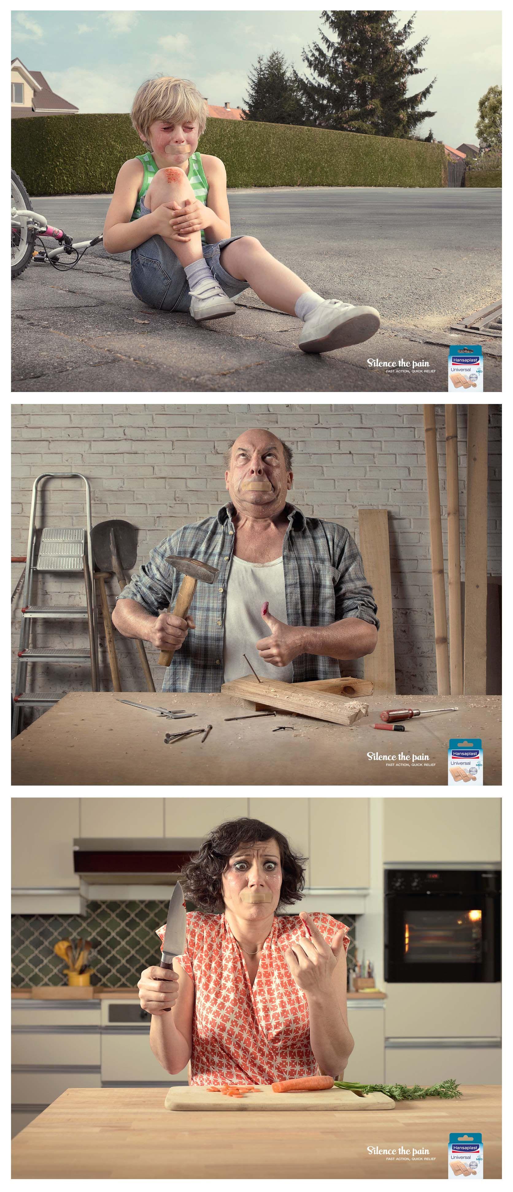 Hansaplast: Silence The Pain Advertising Agency: DDB, Brussels, Belgium Creative Director: Peter Aerts Art Director: Anthony Lamont Copywriter: Gertjan De Smet Photographer: Jeffrey Vanhoutte