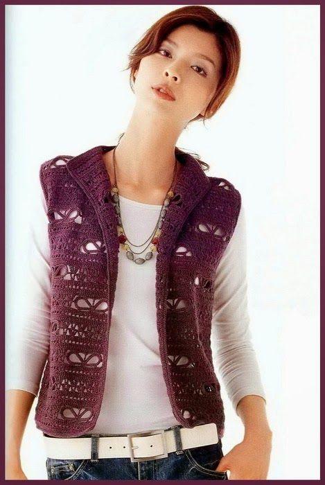 Chaleco de dama tejido al crochet con patrones y diagramas   Crochet ...