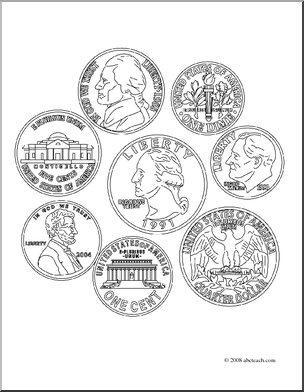 Clip Art Coin Set Coloring Page Abcteach Printable Coloring Pages Coloring Pages Family And Consumer Science