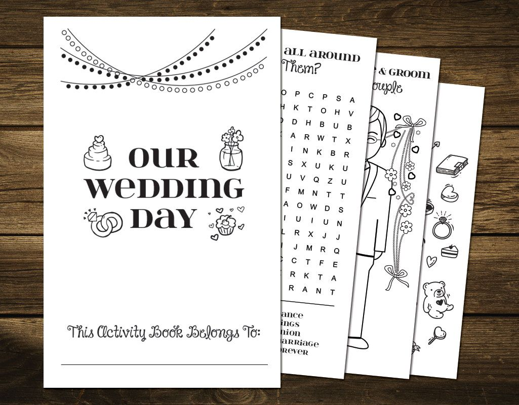 Printable Wedding Activity Book For Kids Wedding Coloring Book Instant Download Wedding Games Printable Kids Wedding Activities Kids Wedding Activities Wedding With Kids Wedding Activities